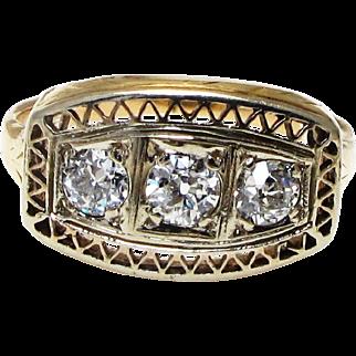 Edwardian 14k Yellow Gold Three Diamond Ring - Old European Cut - Engagement - Promise Ring - Size 5 - Weight 3.1 Grams