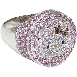 Sterling Silver Large Hello Kitty Ring With Pink and Clear Cubic Zirconia - Sanrio - Size 10 - Weight 11.6 Grams - Vintage