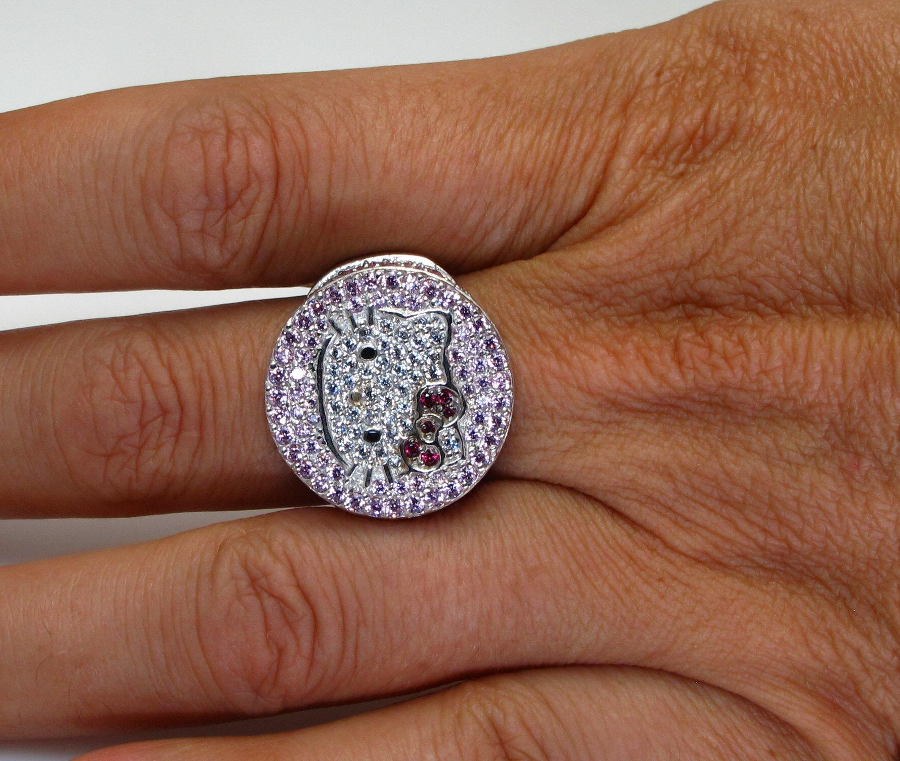 Sterling Silver Large Hello Kitty Ring hello kitty wedding ring Roll over Large image to magnify click Large image to zoom