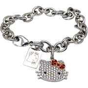 Sterling Silver Hello Kitty Bracelet with Cubic Zirconia Stones and Hello Kitty Sterling Tag