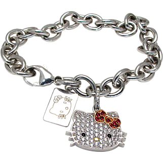 Sterling Silver Hello Kitty Bracelet with Cubic Zirconia Stones and Hello Kitty Sterling Tag - Sanrio