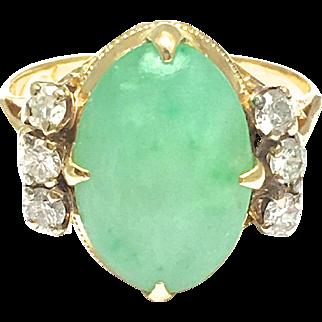 14k Yellow Gold Vintage Jadeite and Diamond Ring