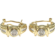 14k Yellow Gold Baguettes and Round Diamonds Hoop Earrings - Post Back Earrings Huggie Style