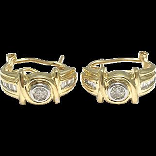 14k Yellow Gold Baguettes and Round Diamonds Hoop Earrings - Post Back Earrings Huggie Style
