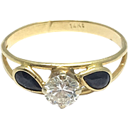 14k Yellow Gold Black Jade and Diamond Ring - Round Diamond with Jade Petals - Floral Design