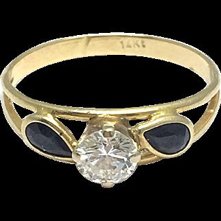 14k Yellow Gold Black Jade and Diamond Ring - Round Diamond with Jade Petals - Floral Design