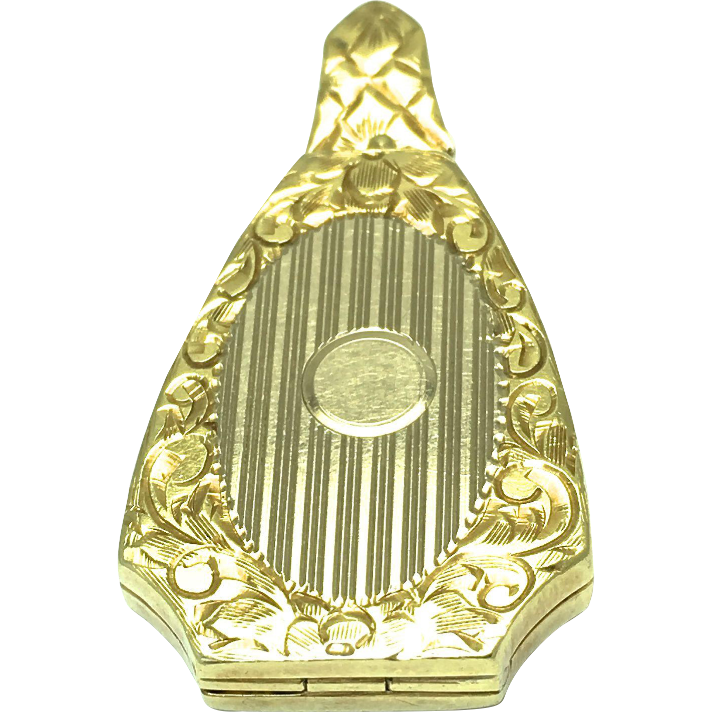 Art Deco 14k Solid Yellow Gold Locket - Geometric Shape