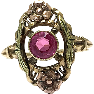 Art Deco 10k Pink Synthetic Sapphire Ring - 10K Yellow and Rose Gold - Size 5 3/4 - Weight 1.8 Grams