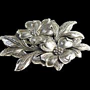 Vintage Cini Brooch - Sterling Silver Floral Spray Signed Pin - Flower Brooch