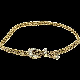 14K Yellow Gold Diamonds Buckle Bracelet with Rope Chain - Belt Bracelet