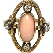 Victorian 14k Yellow Gold Coral and Diamond Ring - Oval Light Pink Coral