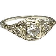 Art Deco 18k White Gold Diamond Engagement Ring