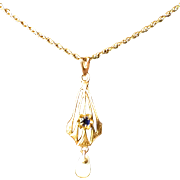 Antique Pendant - 10K Yellow Gold Victorian Blue Pendant with Gold Filled Chain Necklace