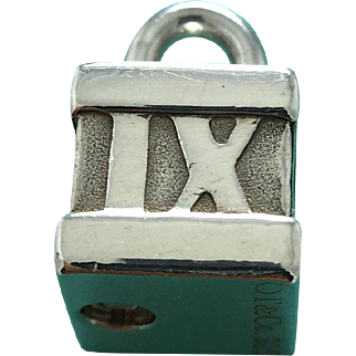 Tiffany & Co Sterling Silver Lock - Atlas Collection - Cube - Charm - Pendant - Padlock with Roman Numerals