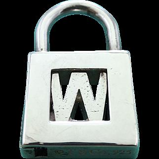 "Tiffany & Co Sterling Silver Letter ""W"" Lock Charm Pendant - Initial W Padlock - Alphabet Letter"