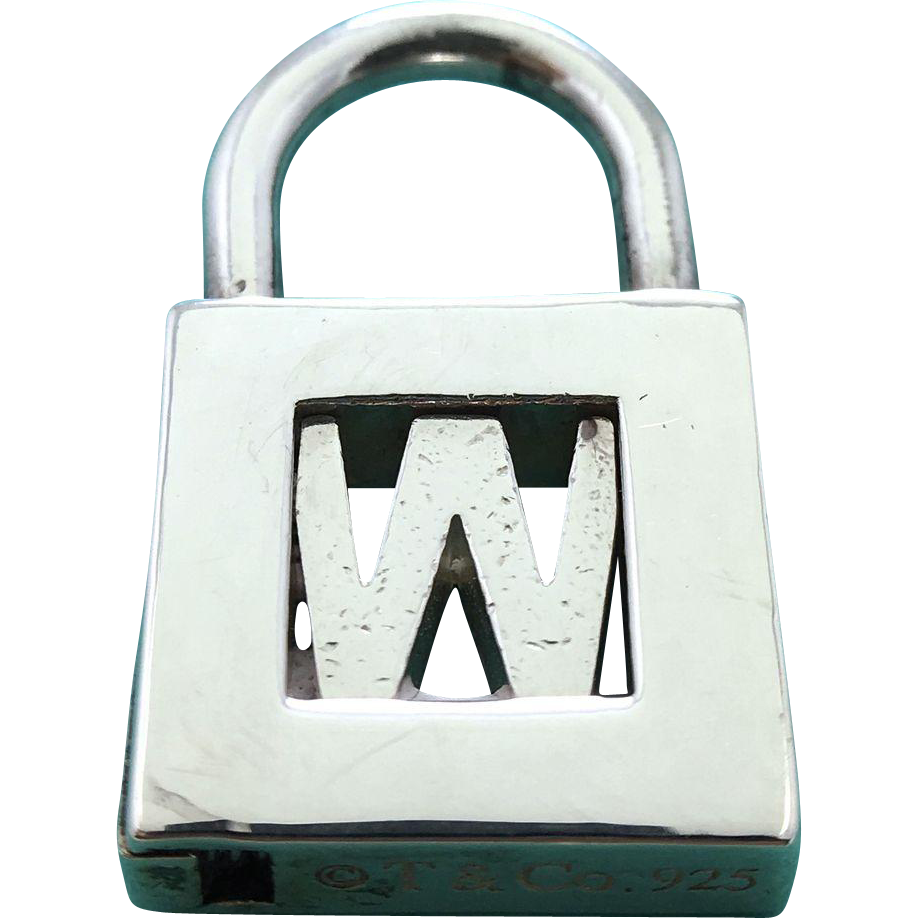 "Tiffany & Co Sterling Silver Letter ""W"" Lock Charm Pendant"