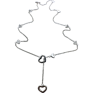 Authentic Tiffany & Co Heart Lariat Sterling Silver Necklace - Heart Slider Necklace