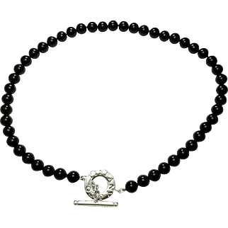 Authentic Tiffany & Co Onyx and Sterling Silver Toggle Necklace - Toggle Necklace Black Onyx Beads