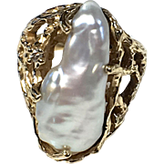 14K Yellow Gold Freshwater Pearl and Diamond Ring - Large Pearl - Size 5.5