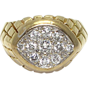 14 Karat Yellow Gold Gentleman's Diamond Ring - Size 9