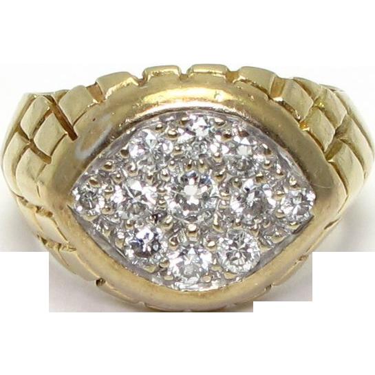 14 Karat Yellow Gold Gentleman's Diamond Ring - Size 9