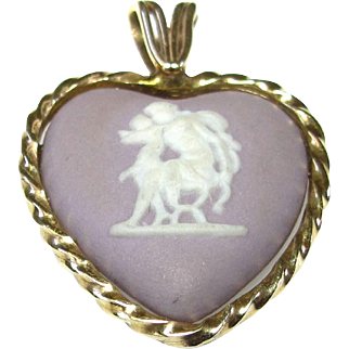 Vintage 14k Yellow Gold Wedgwood Lilac Heart Pendant - Mother and Child Figure - Cameo Wedgwood Charm