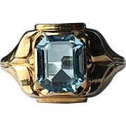 Clark & Combs 10k Yellow Gold and Sterling Silver Blue Glass Ring - Size 5