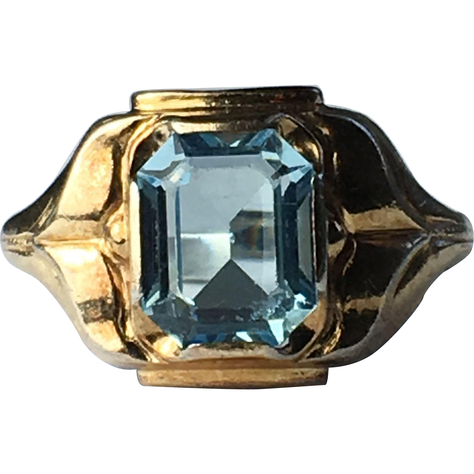 Clark & Combs 10k Yellow Gold and Sterling Silver Blue Glass Ring