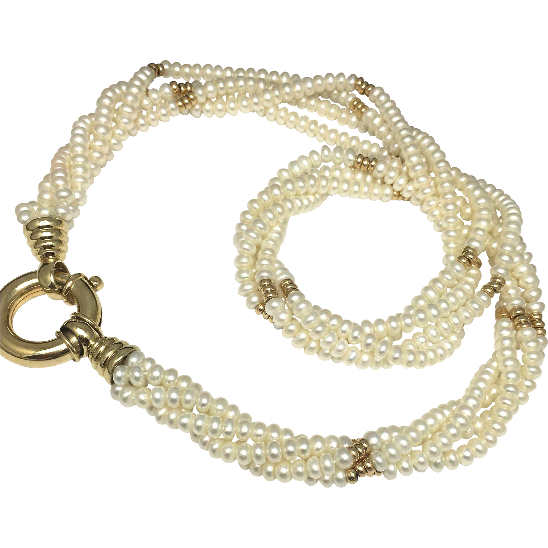 Freshwater Pearl Necklace with 14K Yellow Gold Beads and Clasp