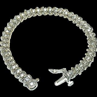 10K White Gold S Shaped Diamond Bracelet - Total 3 Carat Diamonds - Color H - I