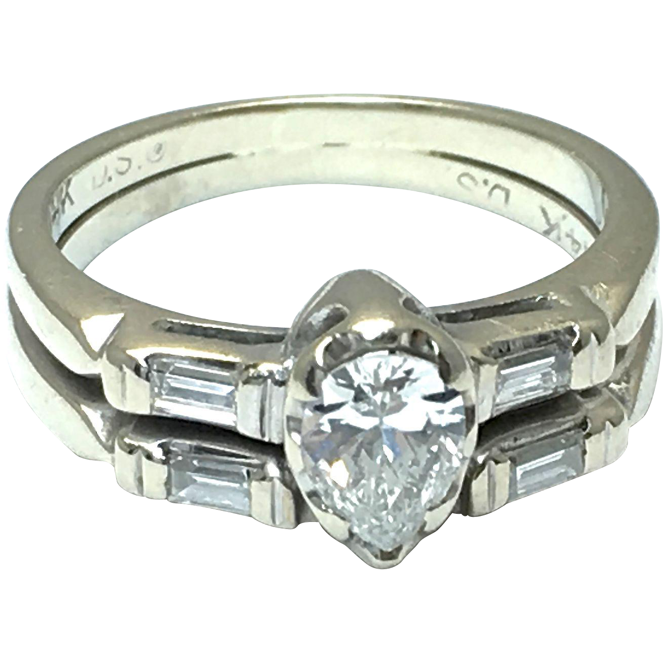 14K White Gold Pear Shape Diamond Ring with Baguette Diamonds and Matching Band - Color J - Clarity VS1