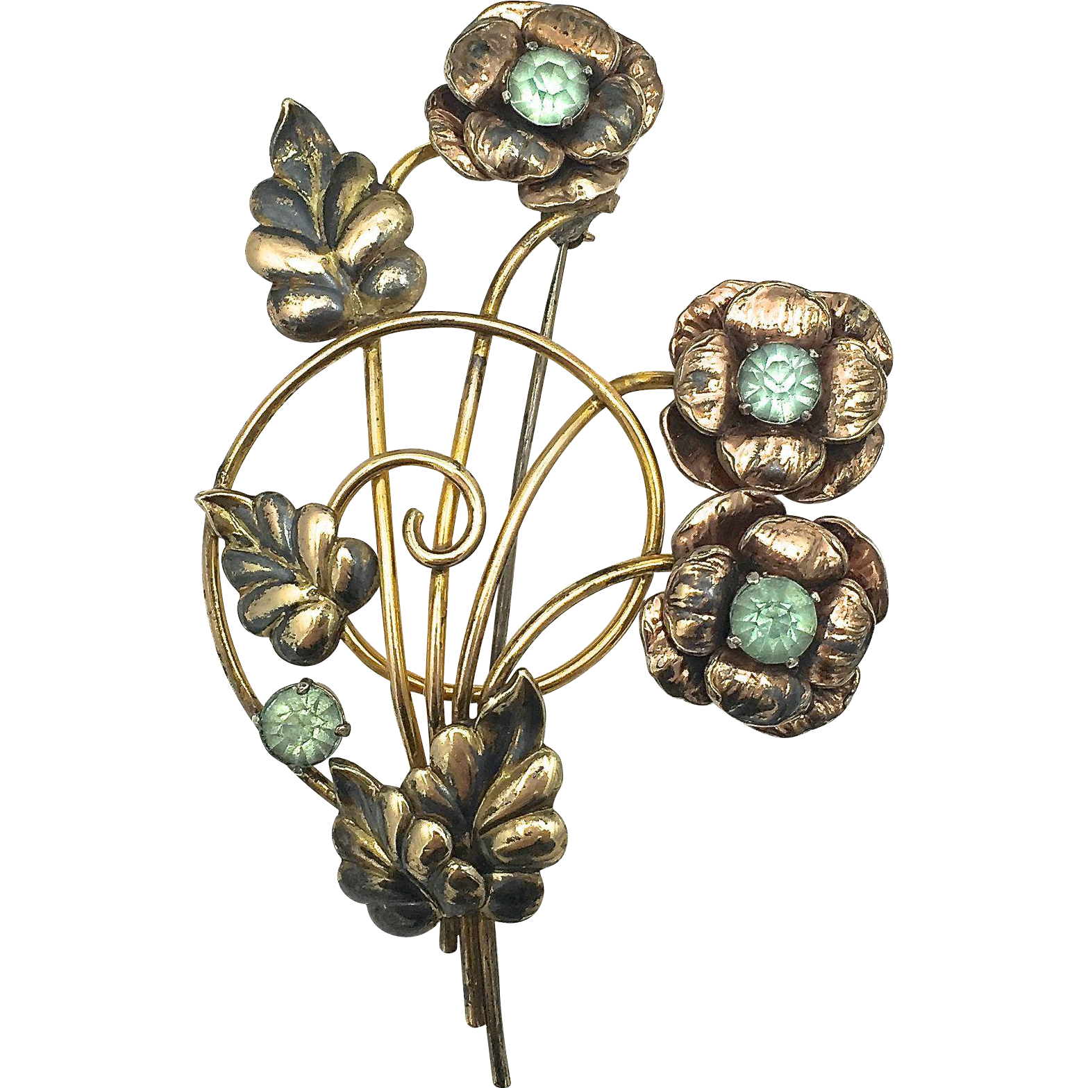Floral Spray Brooch with Green Rhinestones - Raleigh Flower Pin - 12k Rose and Yellow Gold Plated over Sterling Silver - circa 1950's