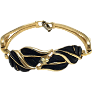 Kramer Gold Tone and Black Smooth Leaf Bracelet with Imitation Pearls - Sectional Bracelet