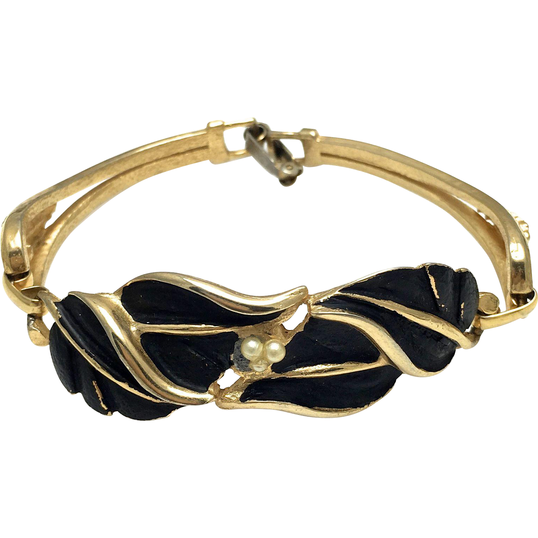 Kramer Gold Tone and Black Smooth Leaf Bracelet with Imitation Pearls - Sectional Bracelet