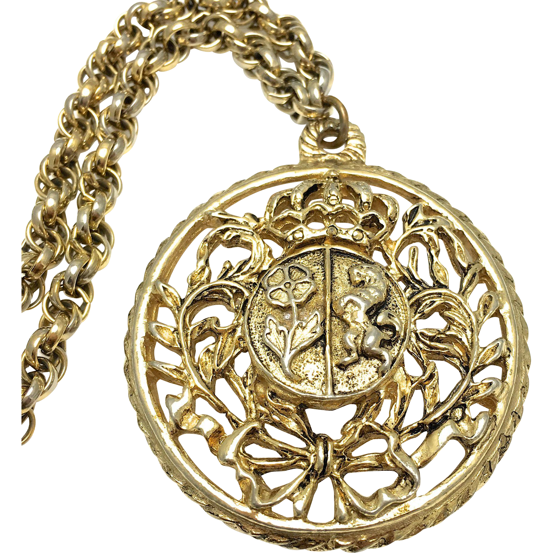 Coro Round Crest Pendant Necklace - Gold Tone - Flower and Lion Shield with Vines Crown and Bow - Costume Jewelry