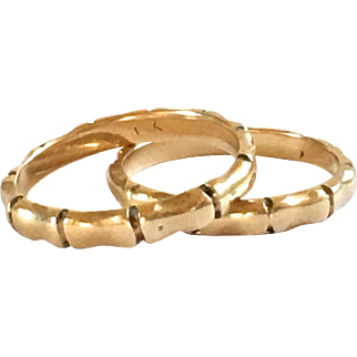 14k Yellow Gold Vintage Bands - Bamboo Design - Size 6.5 - Wedding - Engagement - Promise Ring