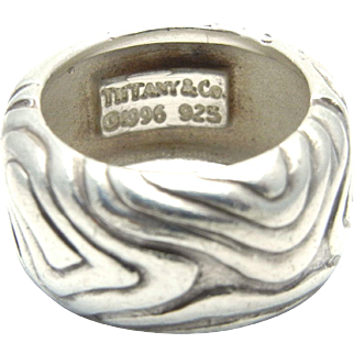 Tiffany & Co Wide Wood Band - Sterling Silver 925 Ring - Size 5 - Nature Etched Wood Band 1996 - Vintage - Rare - Retired # 4331