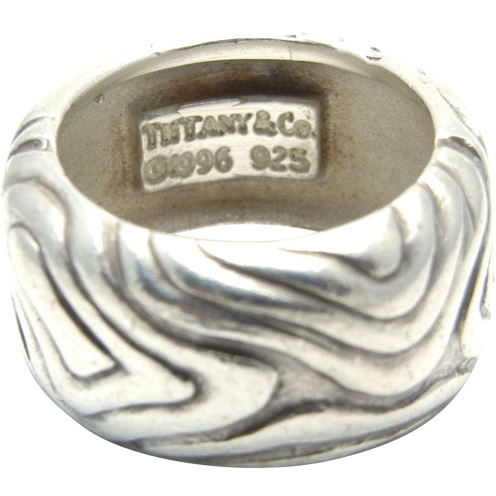Tiffany & Co Wide Wood Band in Sterling Silver
