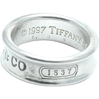 Tiffany & Co 1837 Collection Ring - Sterling Silver Wide Band - Size 6