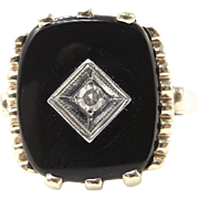 Victorian 10K Yellow Gold Black Onyx and Diamond Ring - Mourning Ring