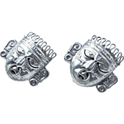 Sterling Silver Aztec Warrior Mask Earrings - Screw Backs - Mexico - Signed RBZ