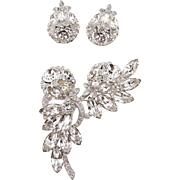Eisenberg Ice Clear Rhinestone Brooch and Earrings Set