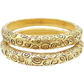 Set of Two Givenchy Bangle Bracelets - Gold Tone Vintage Cuffs
