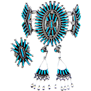 Sterling Silver Sleeping Beauty Turquoise Needle Point Set - Cuff, Ring and Earrings Set - Zuni - RAY & EVA WYACO