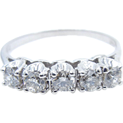 14 karat White Gold 5 Diamond Band