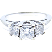 14 karat White Gold 3 Diamond Engagement Ring