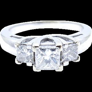 14 karat White Gold 3 Diamond Engagement Ring