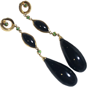 14k Gold Green Tanzanite  & Black Onyx Drop Earrings