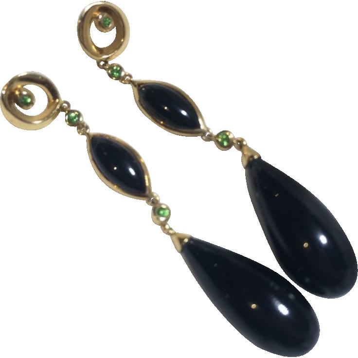 14k Gold Green Tanzanite  & Black Onyx Drop Earrings