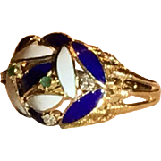 Large 18k Enamel Ring With Emeralds and Diamonds, Stunning and Fabulous